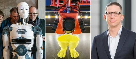 InMoov-Roboter auf der Webweek 2017 und 3D-Drucker bei der Arbeit; Initiator Roman Kessler