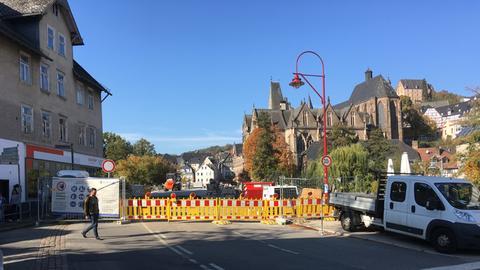Die Dauerbaustelle an der Weidenhäuser Brücke in Marburg