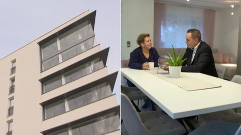 Collage: Das Bahnhaus in Frankfurt von außen; Werkswohnung von Sylvia Becker-Mane