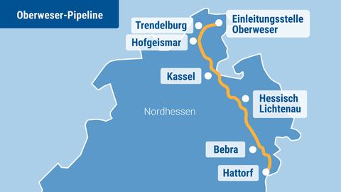 Verlauf der geplanten Weser-Pipeline