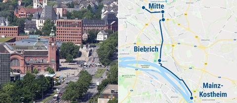 Hauptbahnhof Wiesbaden, aktuell vorgesehene Linienführung der Citybahn.
