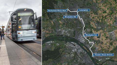 Geplante Strecke der Wiesbadener Straßenbahn