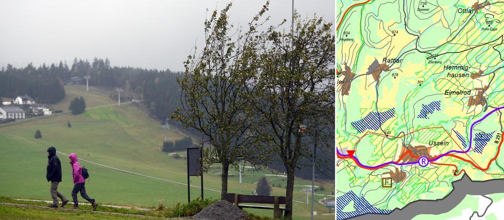 Wanderer im Bergland bei Willingen, Ausschnitt Regionalplan zu möglichen Windkraftanlagen