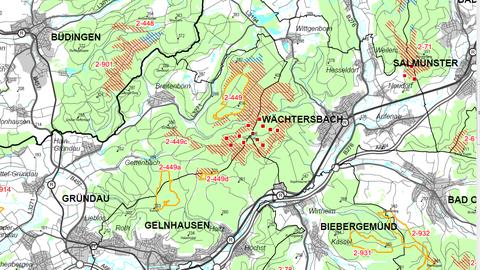 Karte von Gründau und Umgebung mit eingezeichneten Vorrangflächen für Windräder
