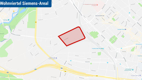 """Karte, auf der der neue Stadtteil """"Schönhof-Viertel"""" im Westen von Frankfurt markiert ist"""