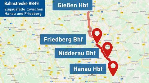 Zugausfälle zwischen Hanau und Friedberg