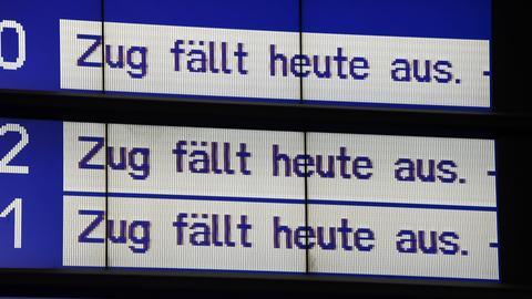Anzeige Bahn Zug fällt aus