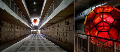 """""""Lichtsphären"""" des hessischen Künstlers Yvelle Gabriel im größten Untergrundfriedhof der Welt in Jerusalem"""
